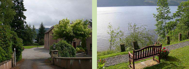 Tigh Na Bruach B&B entrance (left) - Bench on our property overlooking Loch Ness (right)