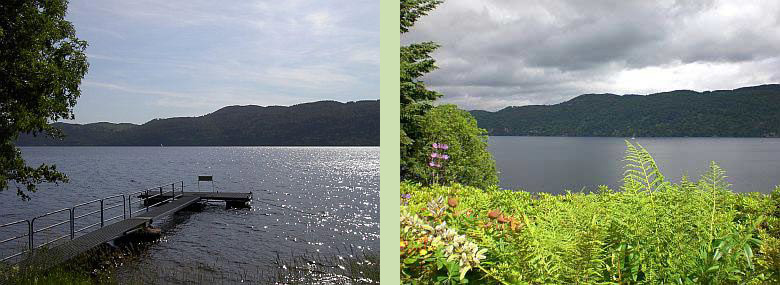 Tigh Na Bruach pontoon overlooking Loch Ness (left) - View of Loch Ness from our property (right)