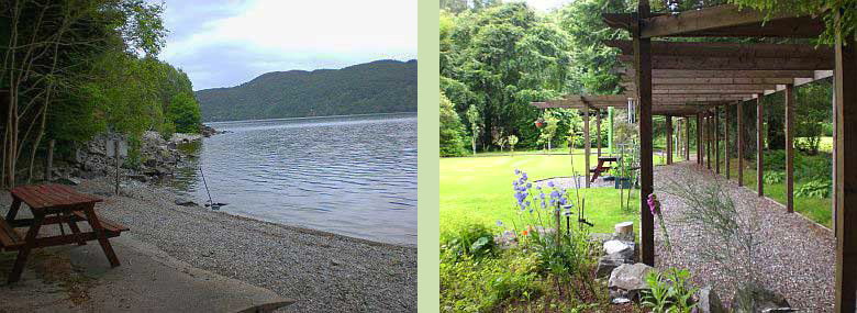Tigh Na Bruach picnic table, Loch Ness (left) - Tigh Na Bruach garden (right)